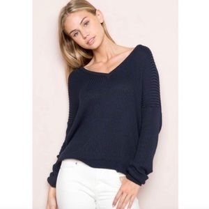Brandy Melville Lance V-Neck Navy Sweater
